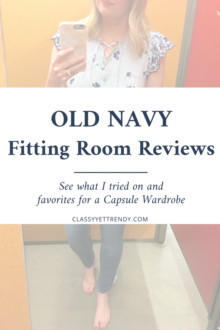 Old Navy Fitting Room Spring Reviews - See a try on session of budget friendly Old Navy clothes. See the review of a flutter sleeve top, cold shoulder tee, striped tee, striped shirt, ruffle tank, skinny jeans, boyfriend jeans, straight jeans, pixie pants, white eyelet shorts, dress, cardigan and gingham top.