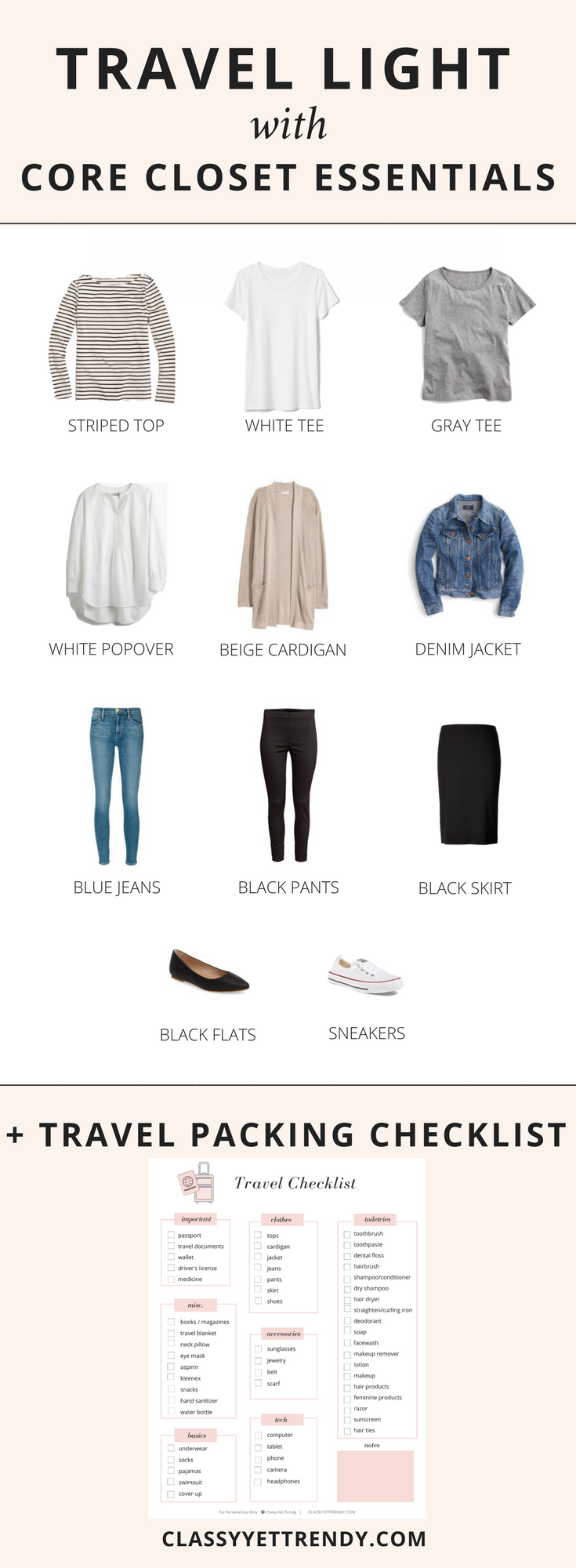 Travel Light with Core Closet Essentials + Free Checklist