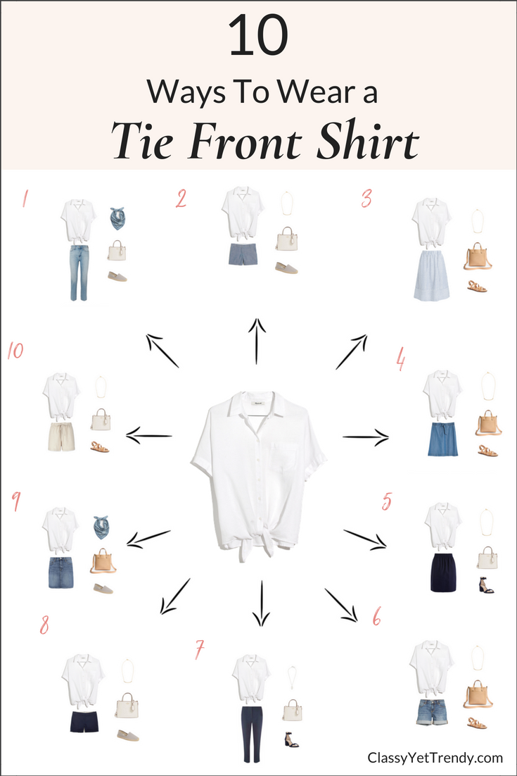 10 ways to wear a tie front shirt