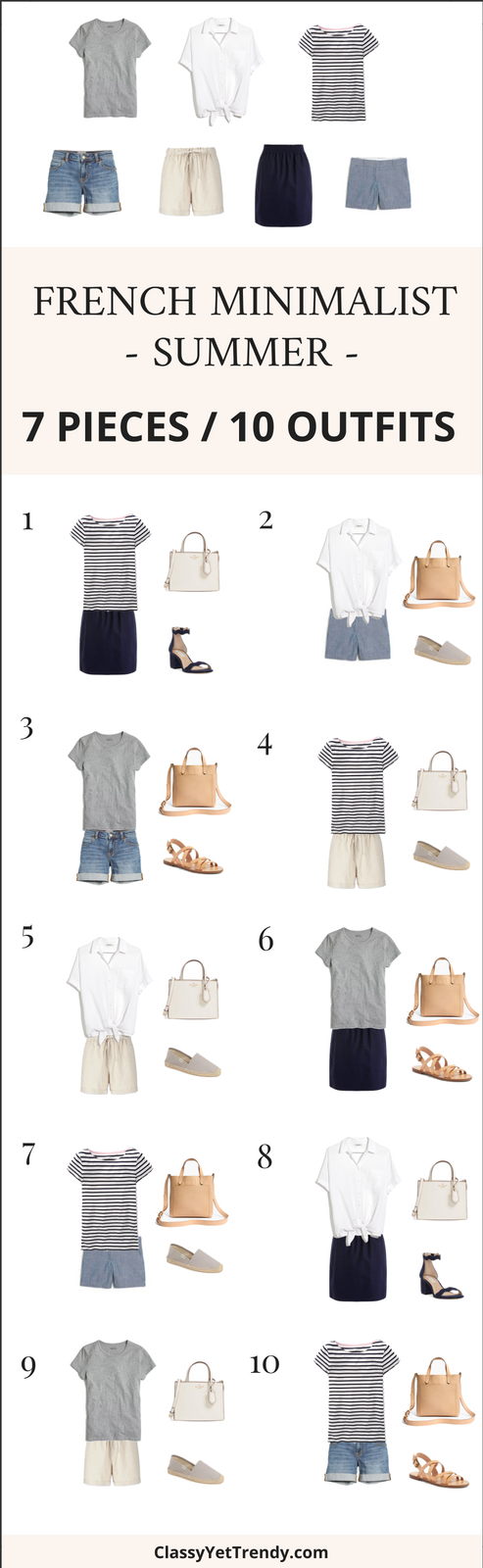 7 Pieces 10 Outfits - French Minimalist Summer Style