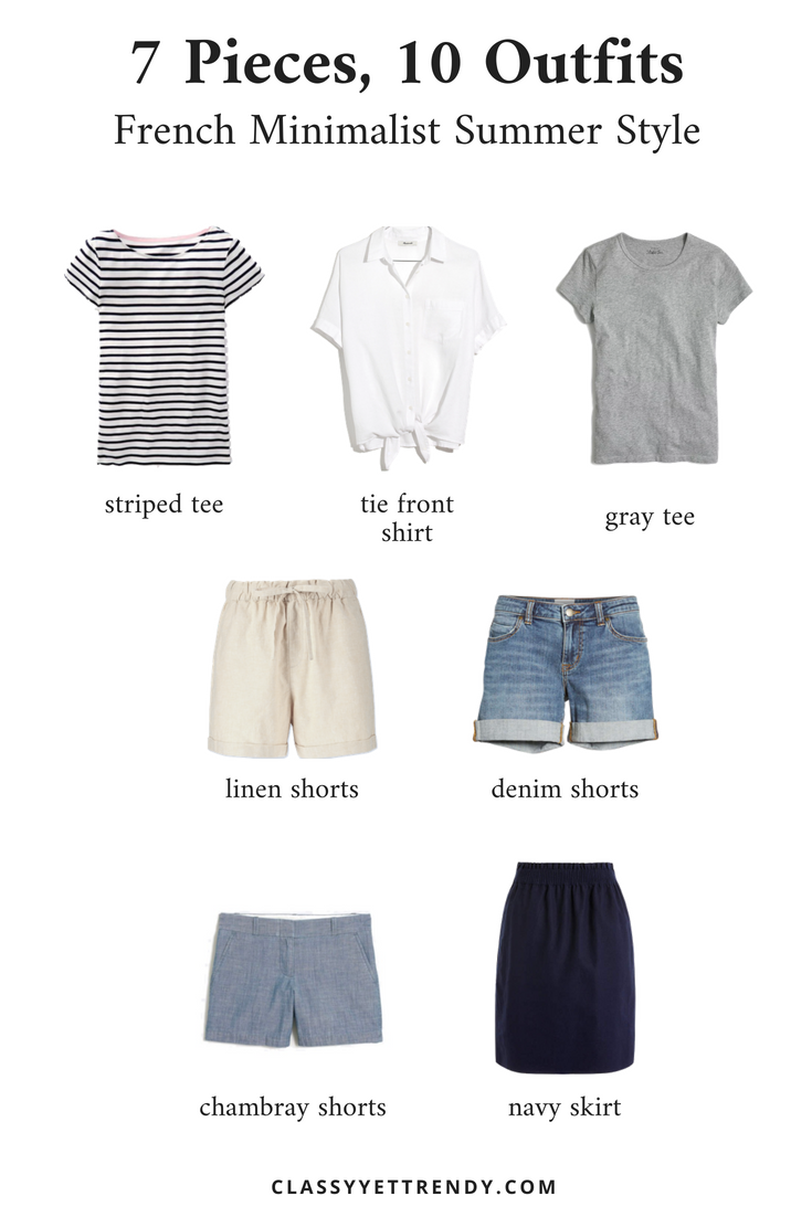 French Minimalist Summer Style - 7 Pieces, 10 Outfits