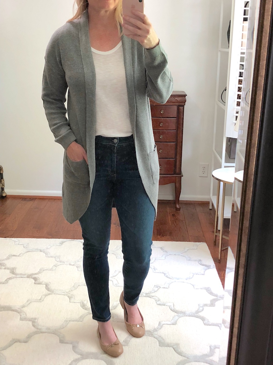 Nordstrom Anniversary Sale Try-On - BP Stitch Curve Hem Cardigan GRAY