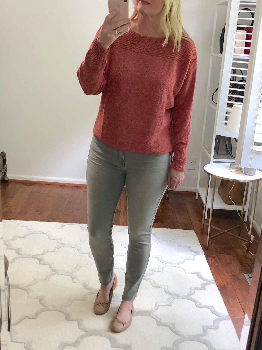 Nordstrom Anniversary Sale Try-On - Calson Dolman Sleeve Sweater and 7 For All Mankind Gray Jeans