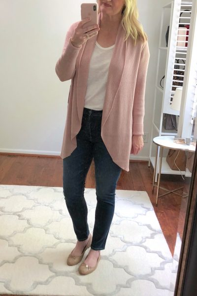 Nordstrom Anniversary Sale Try-On - Leith Ribbed Shawl Cocoon Sweater PINK