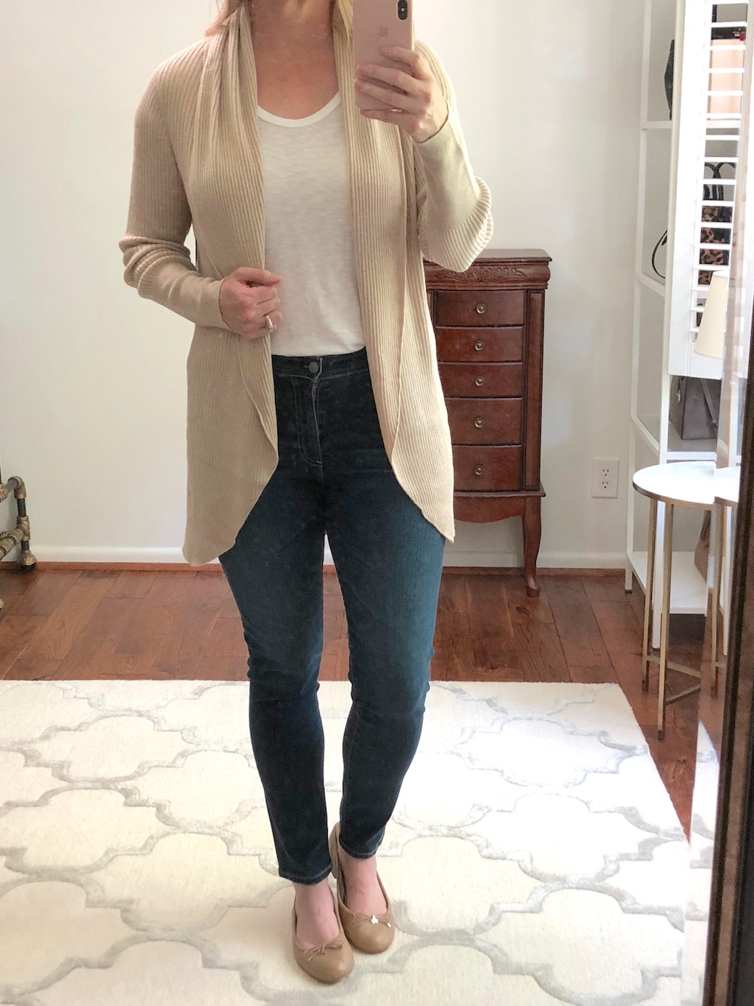 Nordstrom Anniversary Sale Try-On - Leith Ribbed Shawl Cocoon Sweater TAN - AG Jeans