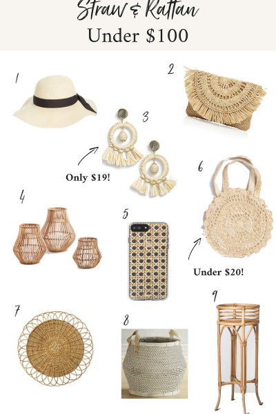 Straw and Rattan Under $100