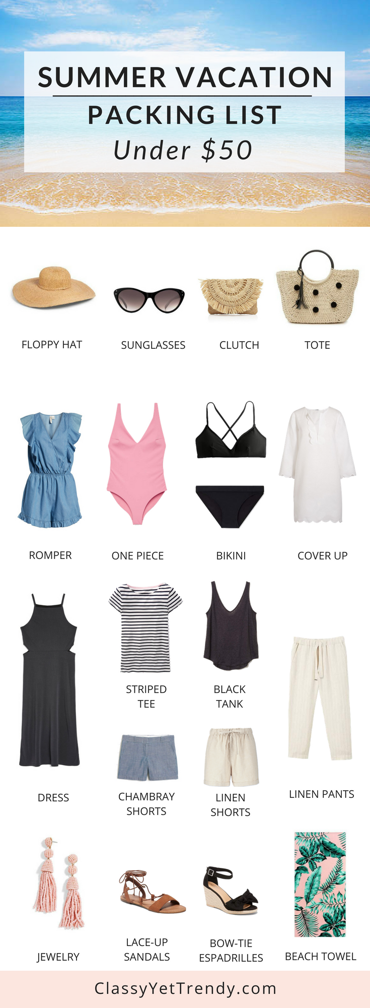 Summer Vacation Packing List On a Budget Under $50