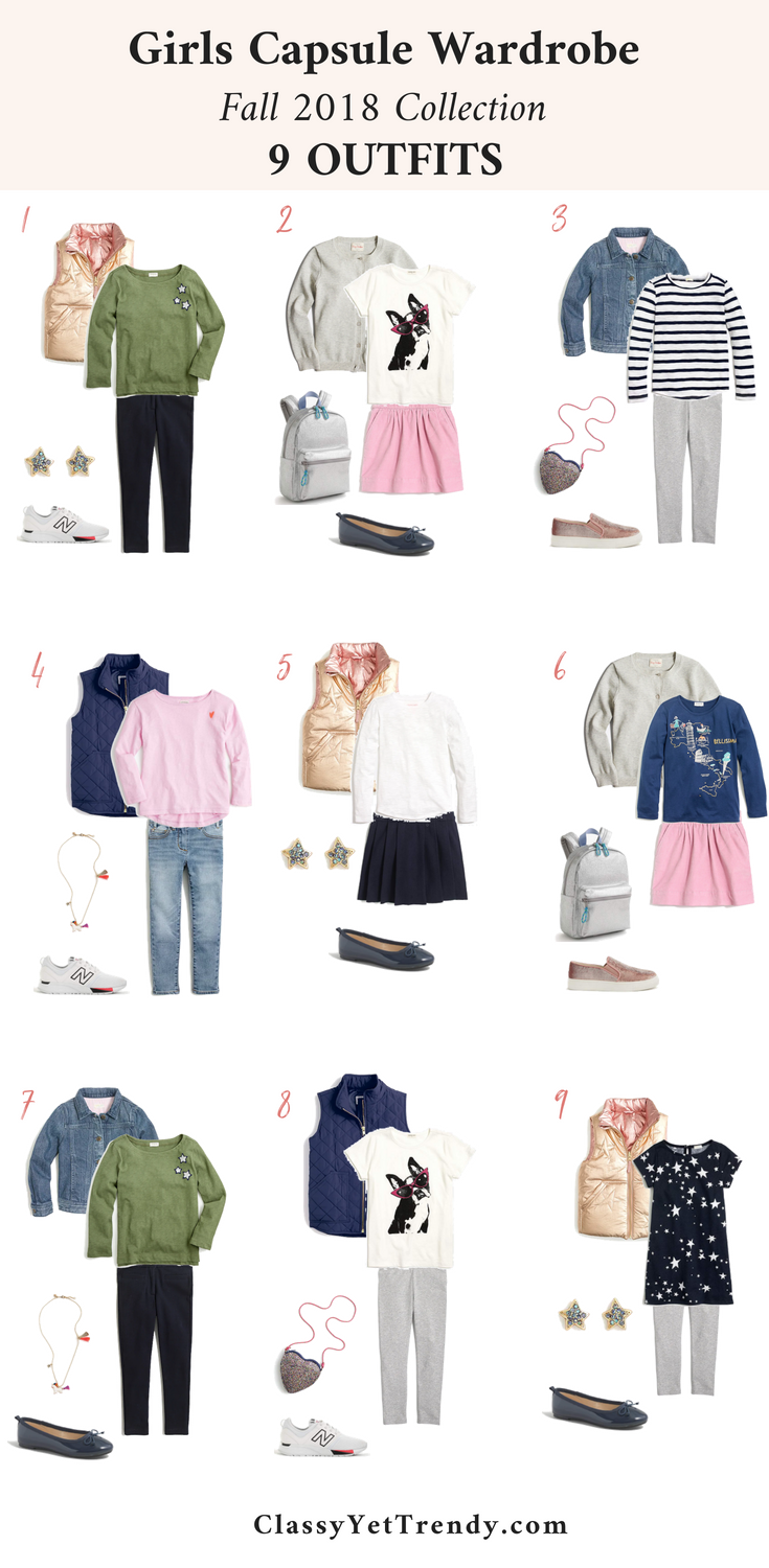Girls Capsule Wardrobe Fall 2018 - 9 Outfits