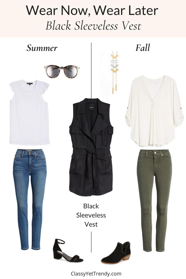Wear Now, Wear Later: Black Sleeveless Vest