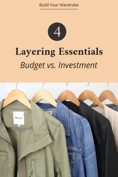 4 Layering Essentials For Your Closet - Budget vs Investment - Add a utility jacket denim jacket black leather jacket and cardigan to your wardrobe