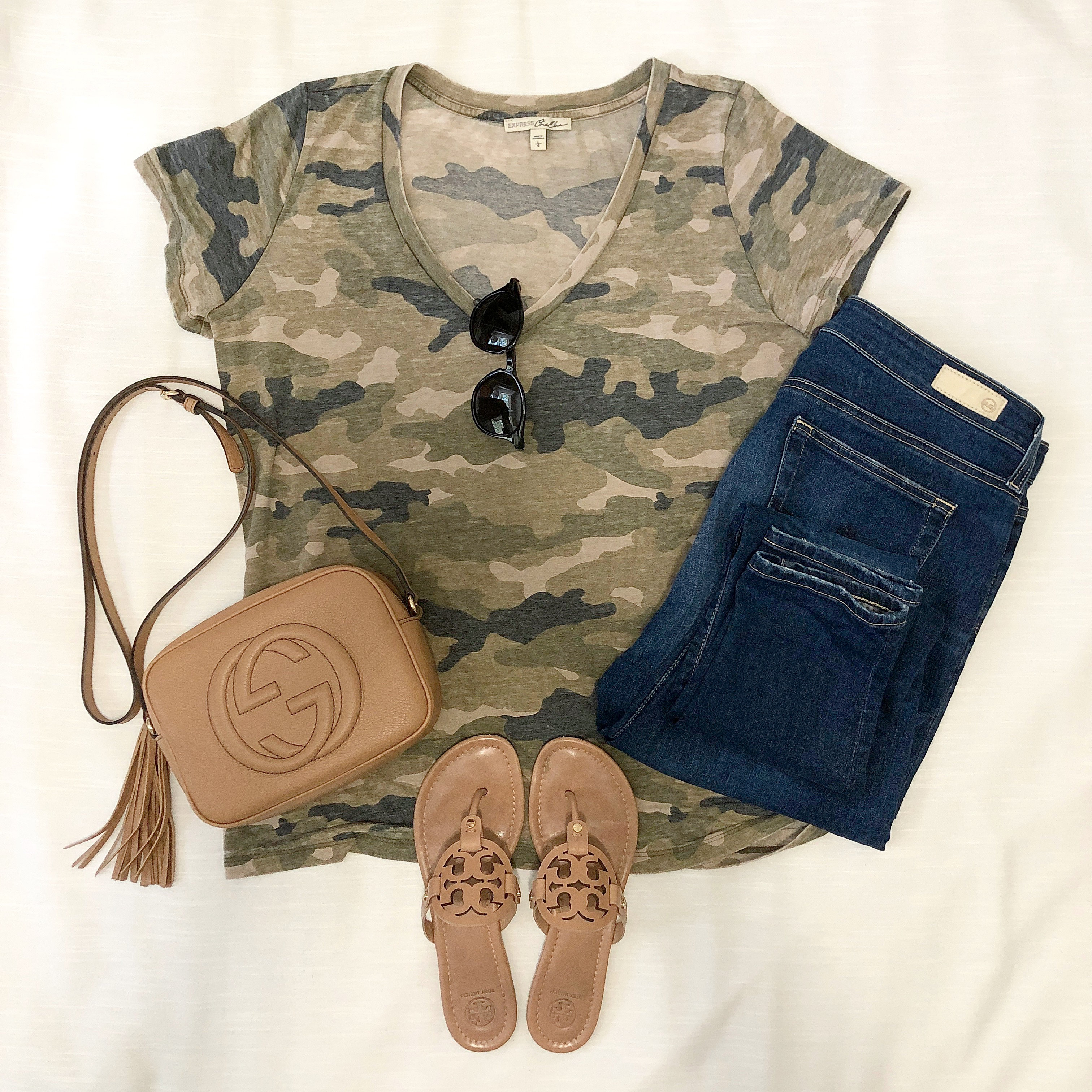 Instagram September 2018 camo tee skinny jeans Tory Burch sandals