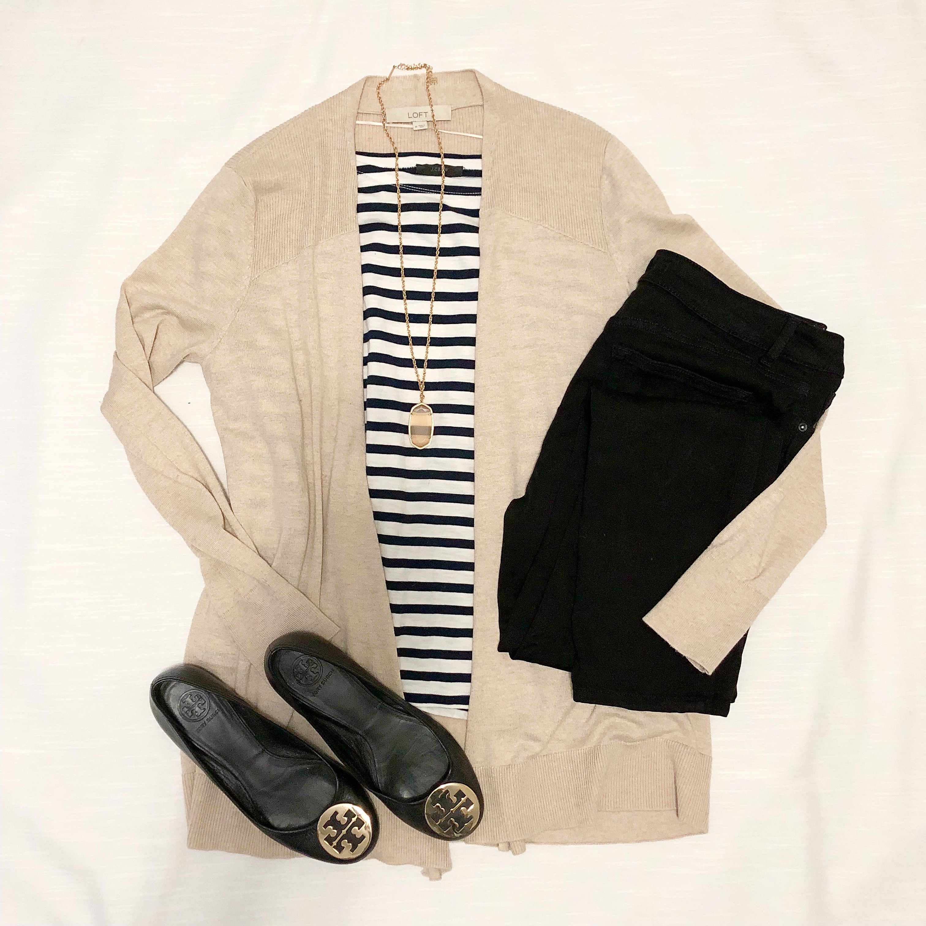 Instagram September 2018 - J Crew striped top, black jeans, beige cardigan, Tory Burch flats