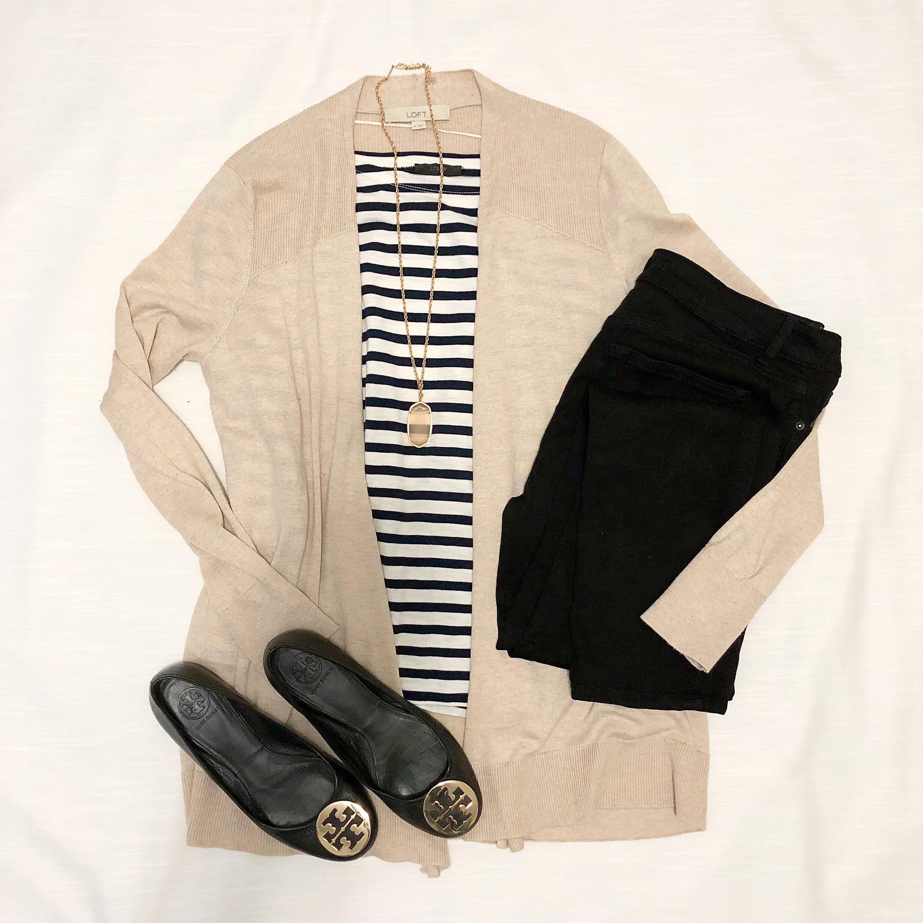 Instagram September 2018 - J Crew striped top, black jeans, beige cardigan, Tory Burch flats