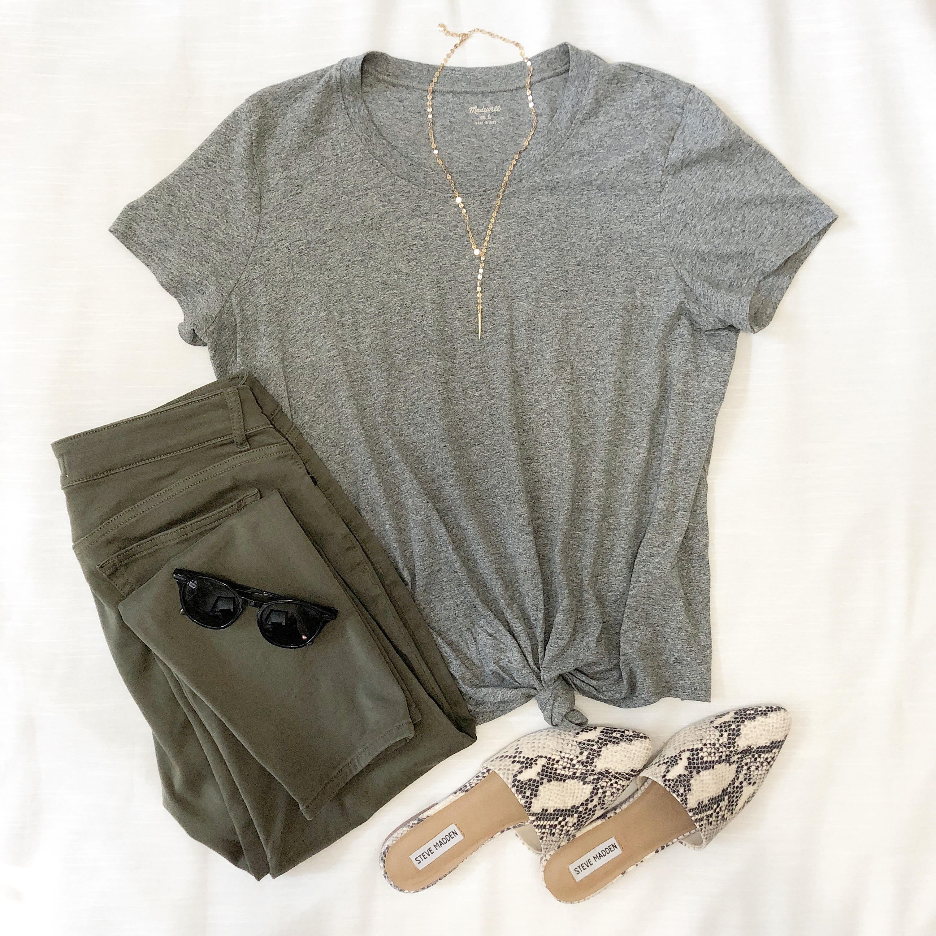 Instagram September 2018 - gray tie front tee, olive jeans, snake pattern mules