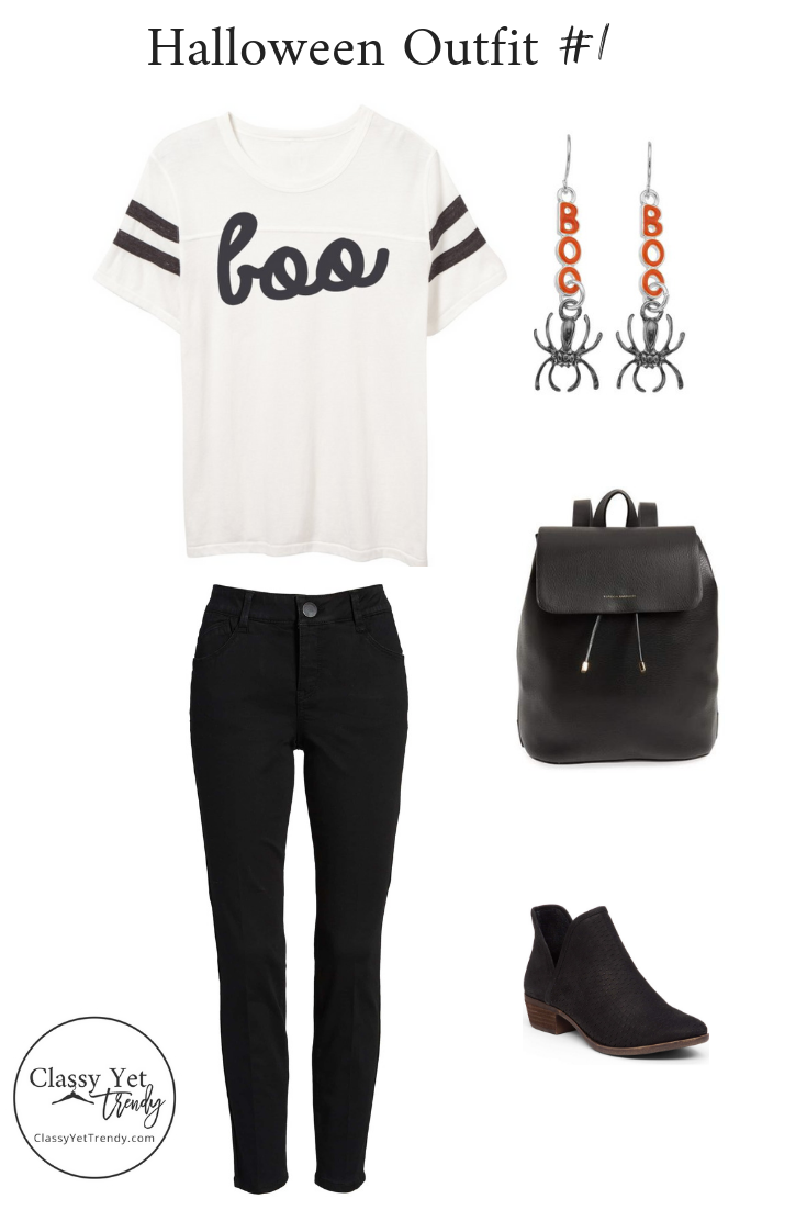 Halloween Outfit 1 - tee black jeans earrings backpack booties
