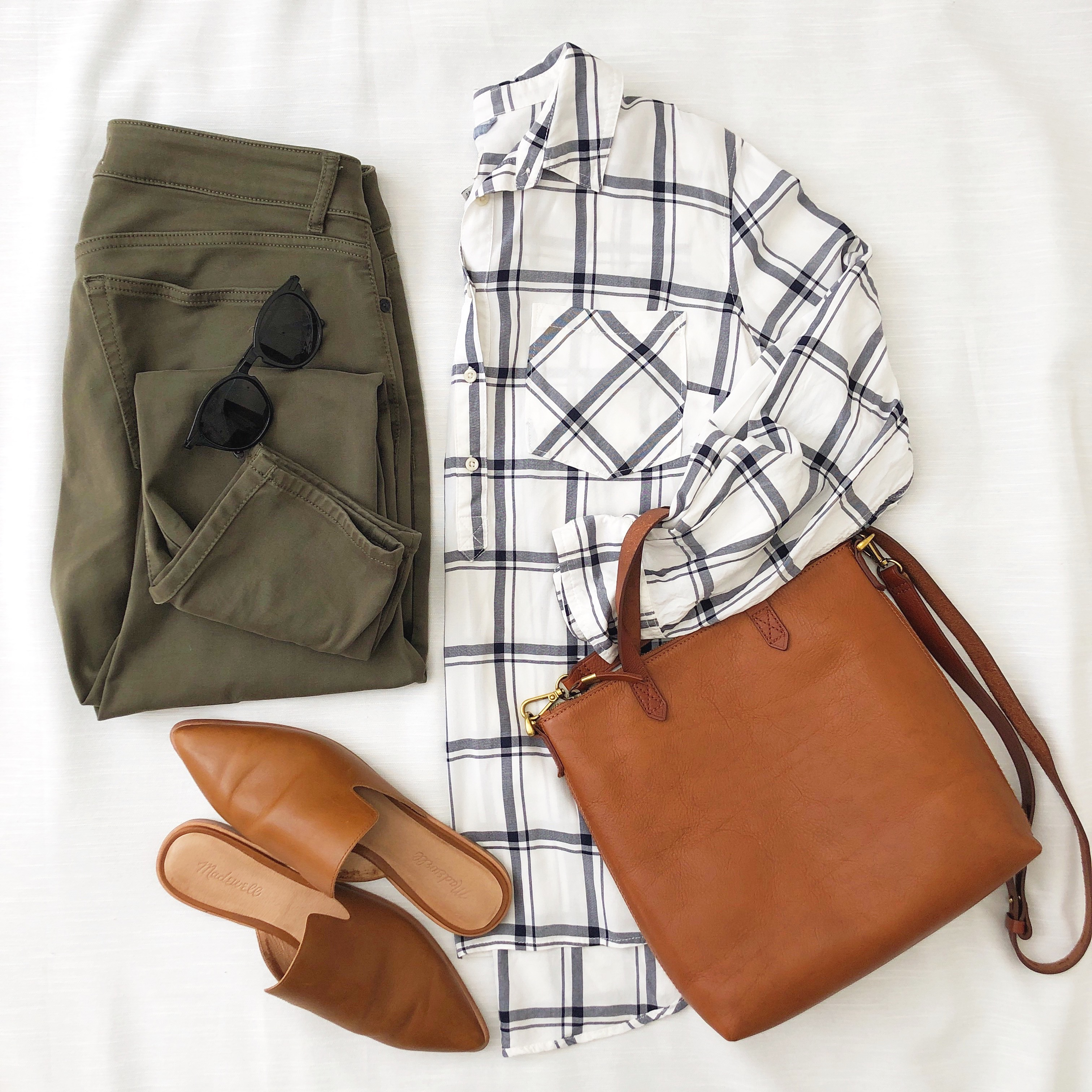 Instagram Flatlay Outfit - Oct 2018 plaid shirt olive jeans leather mules