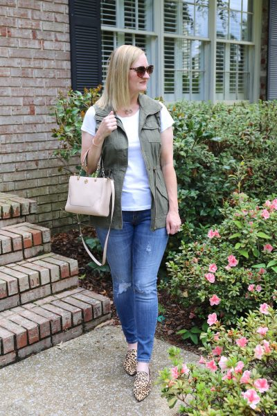 Olive Leopard and Blush - This fall outfit includes a white tee, olive utility vest, distressed jeans, blush satchel bag and leopard mules