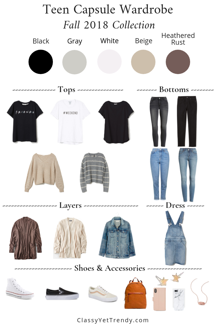 Teen Capsule Wardrobe Fall 2018 - tee sweater cardigan denim jacket jeans converse high top vans sneakers