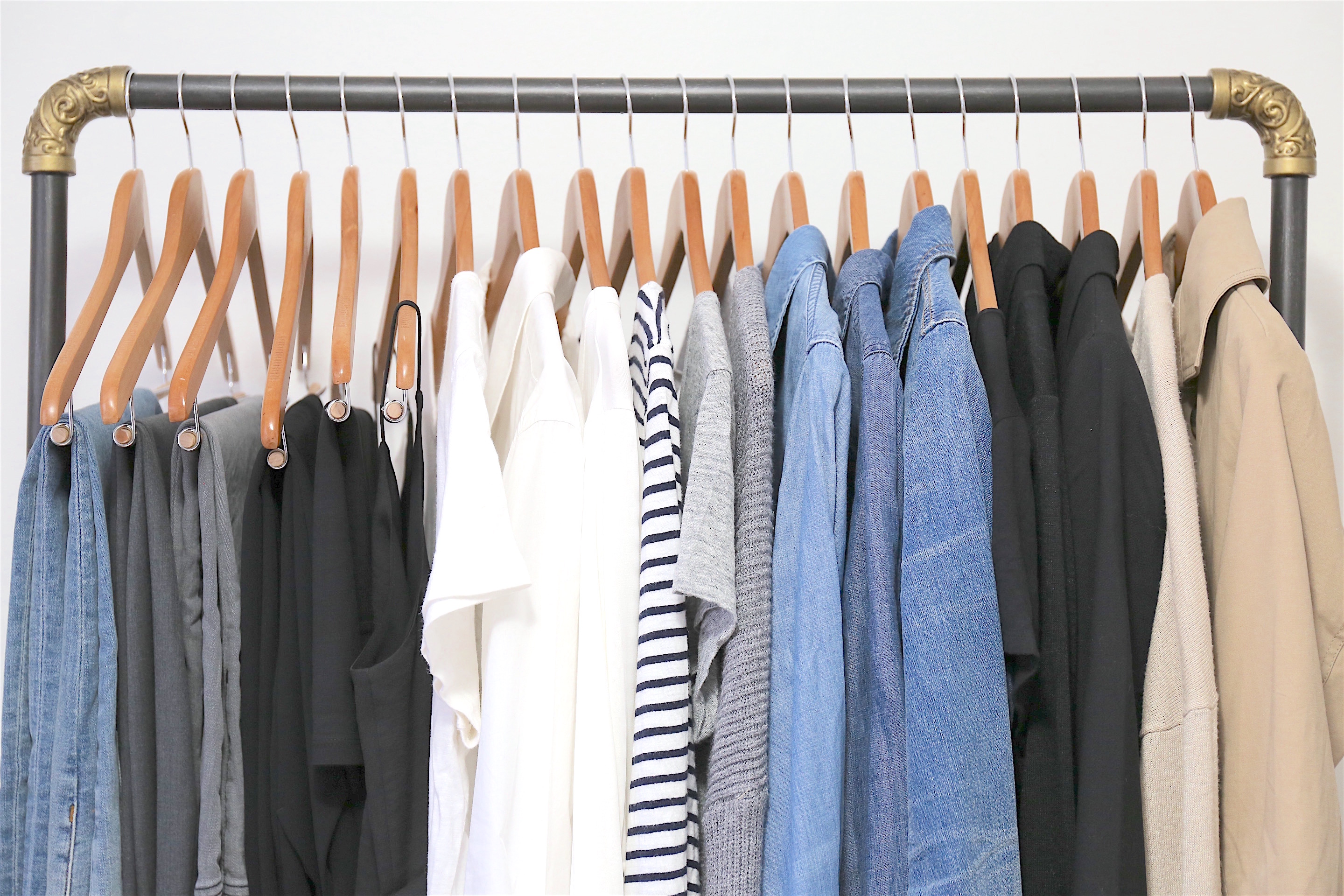 Simplified Style clothes on rack - closeup
