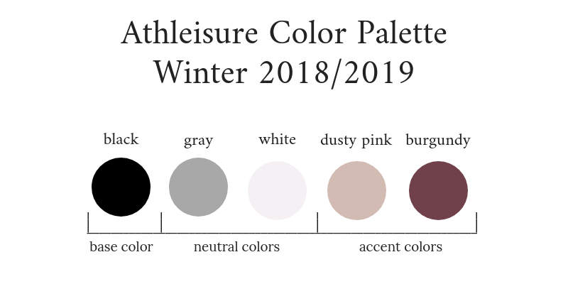 Athleisure Capsule Wardrobe Winter 2018-2019 Color Palette
