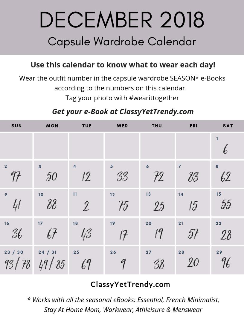 DECEMBER 2018 #wearittogether Capsule Wardrobe Calendar