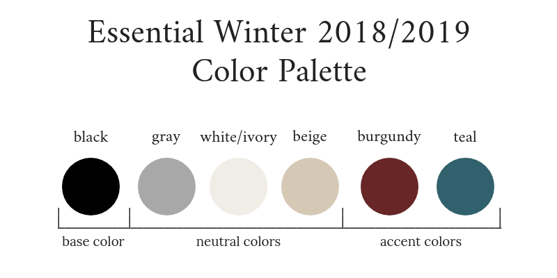 Essential Capsule Wardrobe Winter 2018-2019 Color Palette