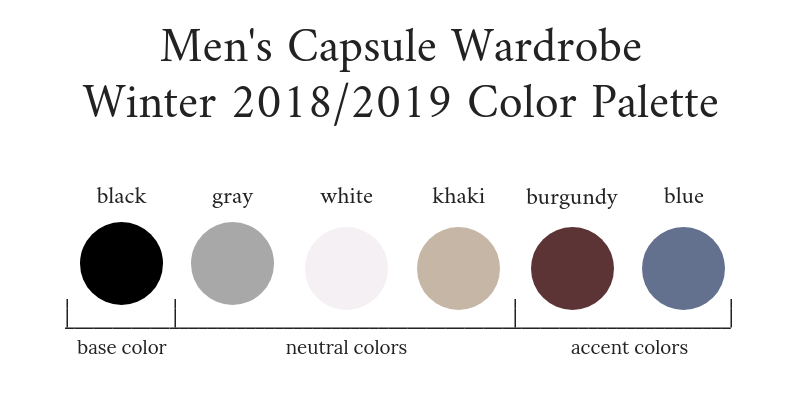 Mens Capsule Wardrobe Winter 2018-2019 Color Palette