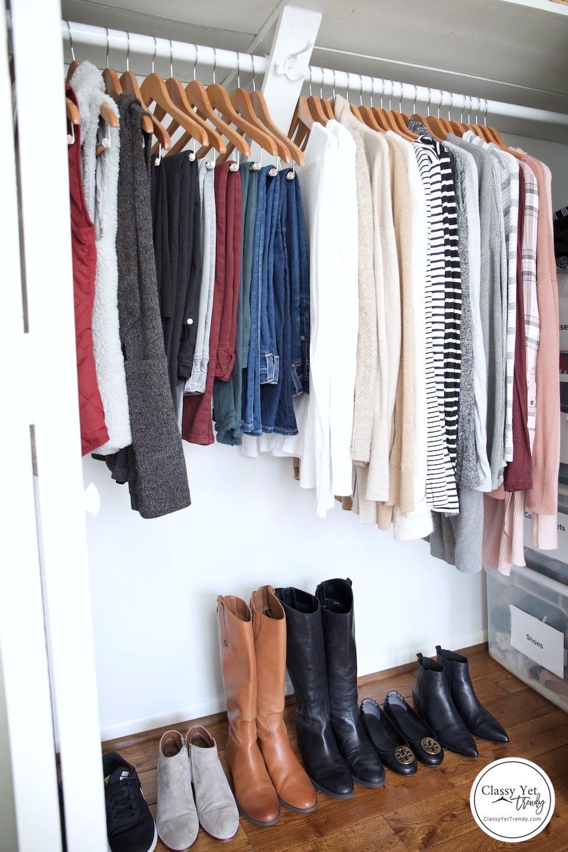 My Winter 2018-2019 Capsule Wardrobe - full closet side