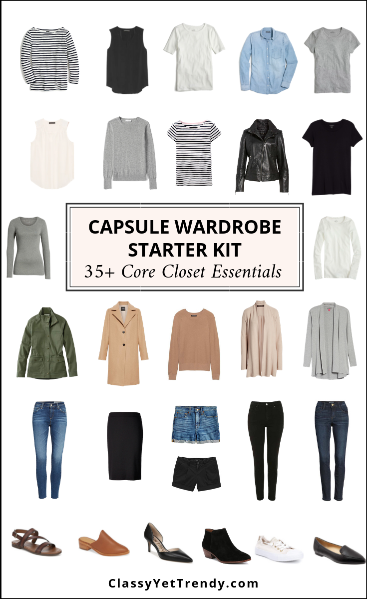4e6ce4443 Capsule Wardrobe Starter Kit - 35+ Core Closet Essentials - Classy ...