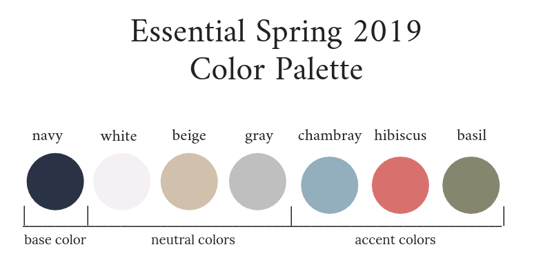 Essential Capsule Wardrobe Spring 2019 Color Palette