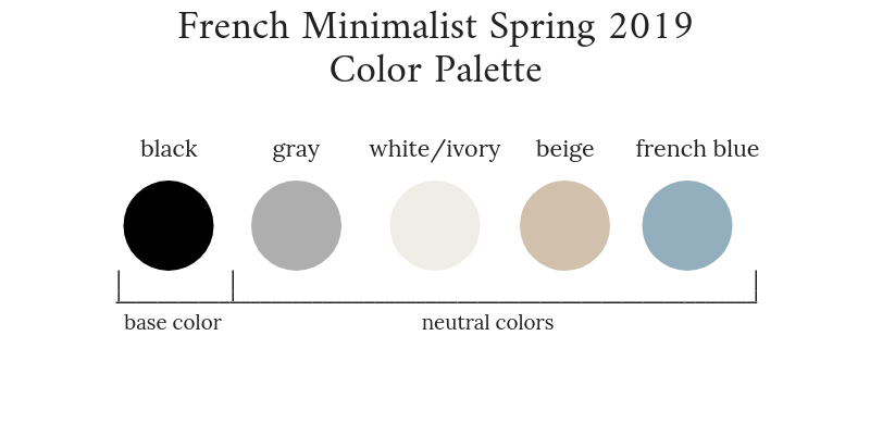 French Minimalist Spring 2019 Color Palette