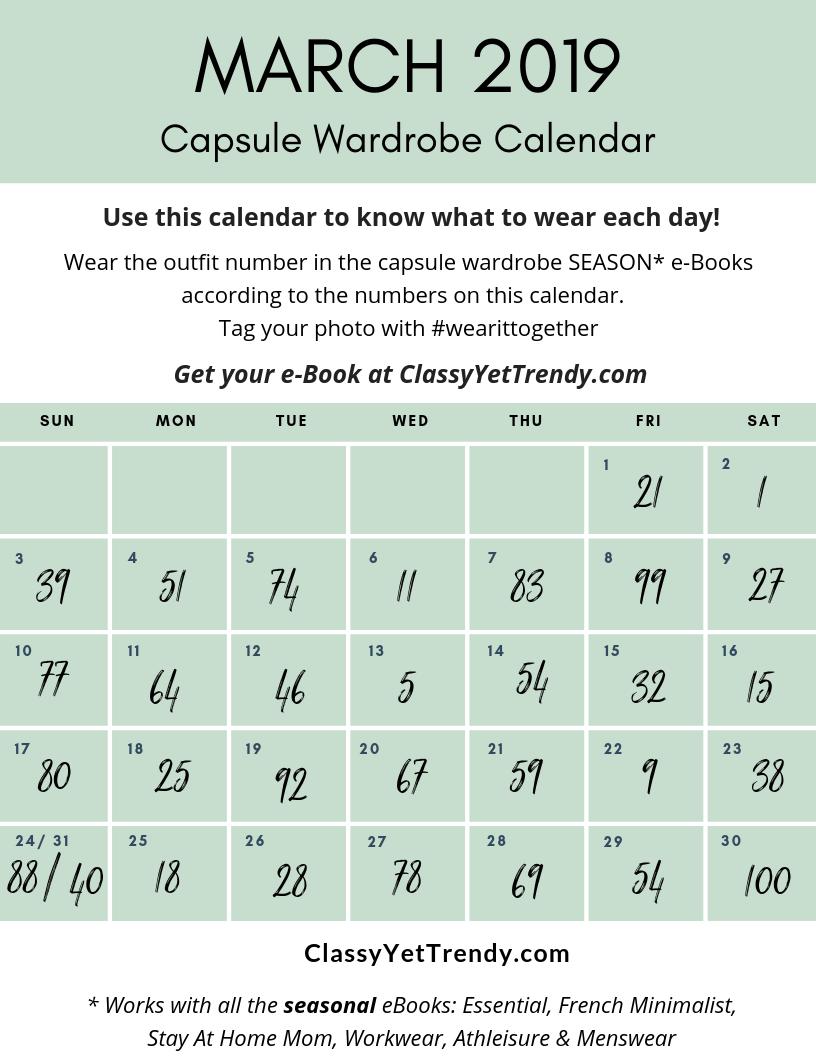 MARCH 2019 #wearittogether Capsule Wardrobe Calendar