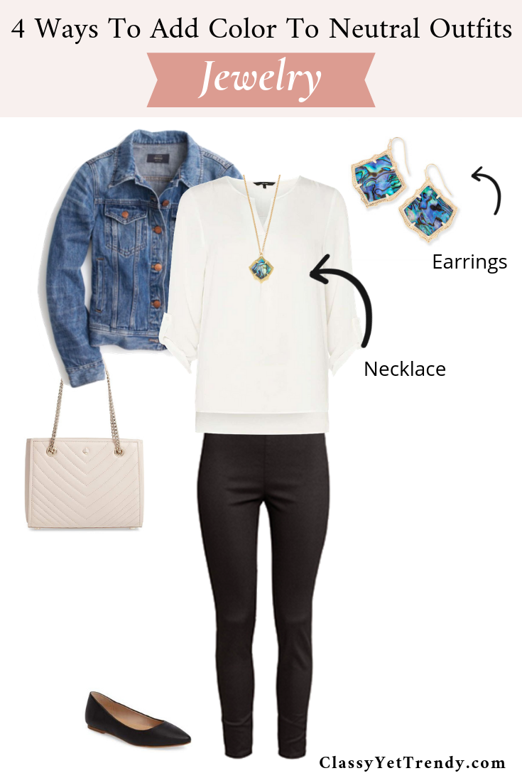 4 Ways To Add Color To Neutral Outfits - Jewelry