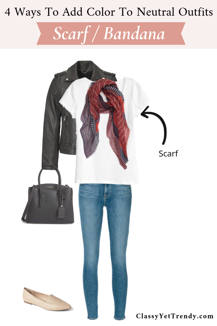4 Ways To Add Color To Neutral Outfits - Scarf Bandana