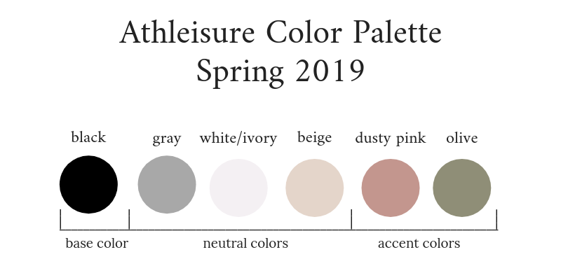 Athleisure Capsule Wardrobe Spring 2019 Color Palette