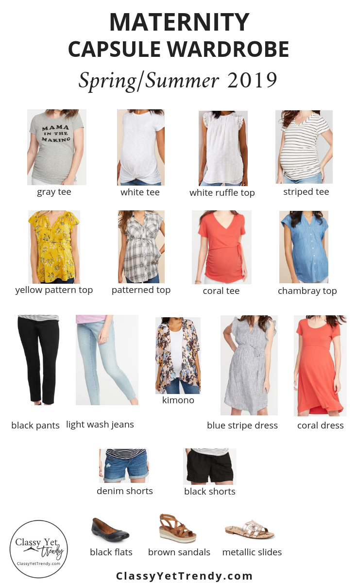 Maternity Capsule Wardrobe Spring Summer 2019 18 Pieces