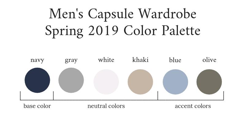 Mens Capsule Wardrobe Spring 2019 Color Palette