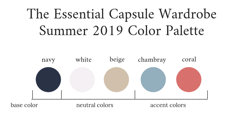 Essential Capsule Wardrobe Summer 2019 Color Palette