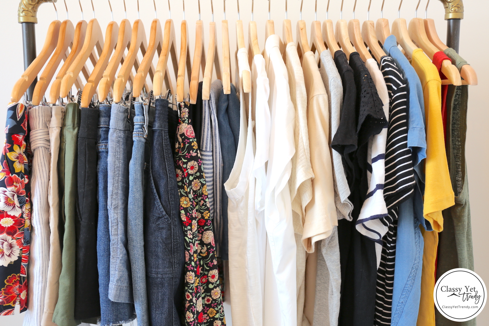 My 31-piece Summer 2019 Capsule Wardrobe - clothes rack closeup