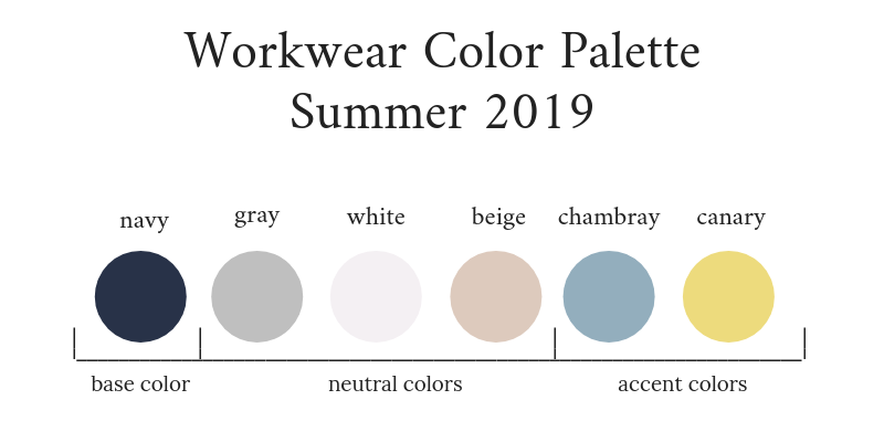Workwear Capsule Wardrobe Summer 2019 Color Palette