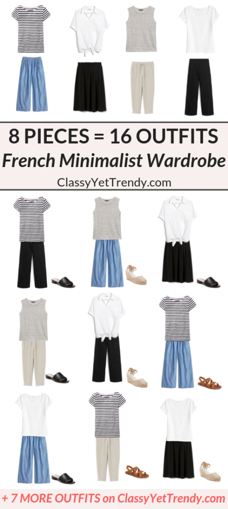 8 Pieces 16 Outfits - French Minimalist Summer Capsule Wardrobe 2019