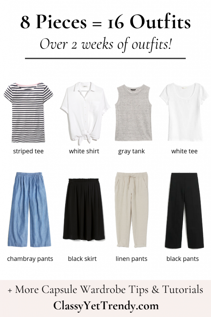 8 Pieces French Minimalist Summer 2019 Capsule Wardrobe Outfit Ideas