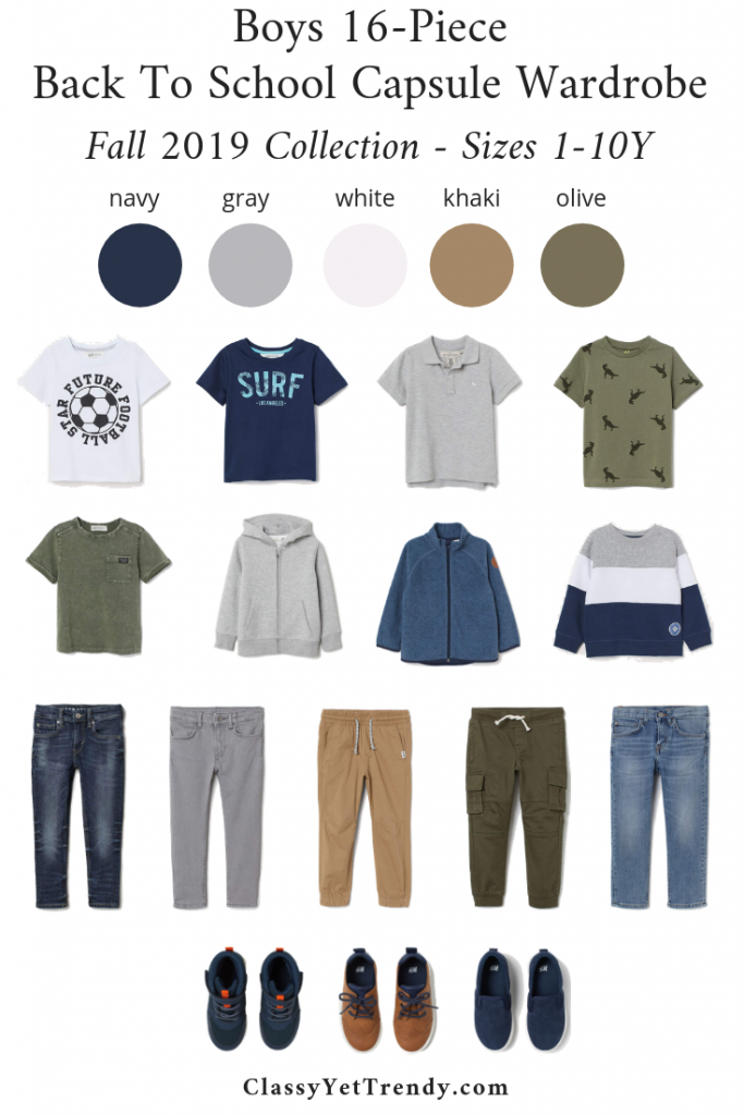 Boys 16-Piece Back To School Capsule Wardrobe - Fall 2019 - Sizes 1-10Y + 9 Outfits