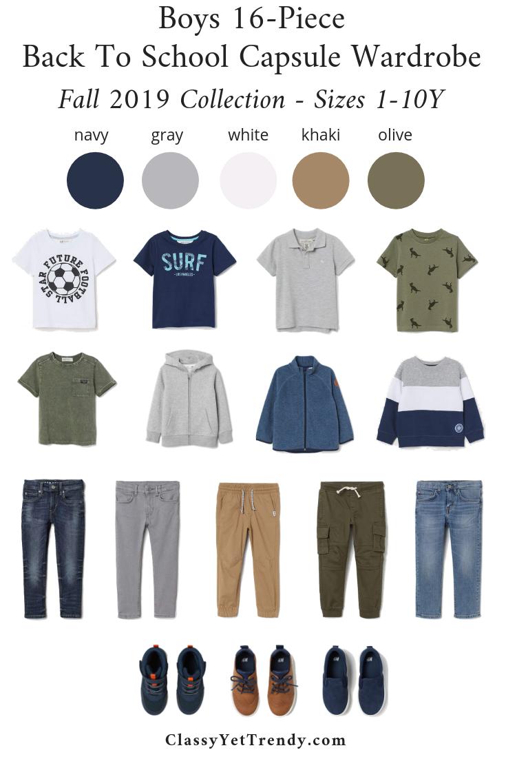 Boys 16 Piece Back To School Capsule Wardrobe Fall 2019