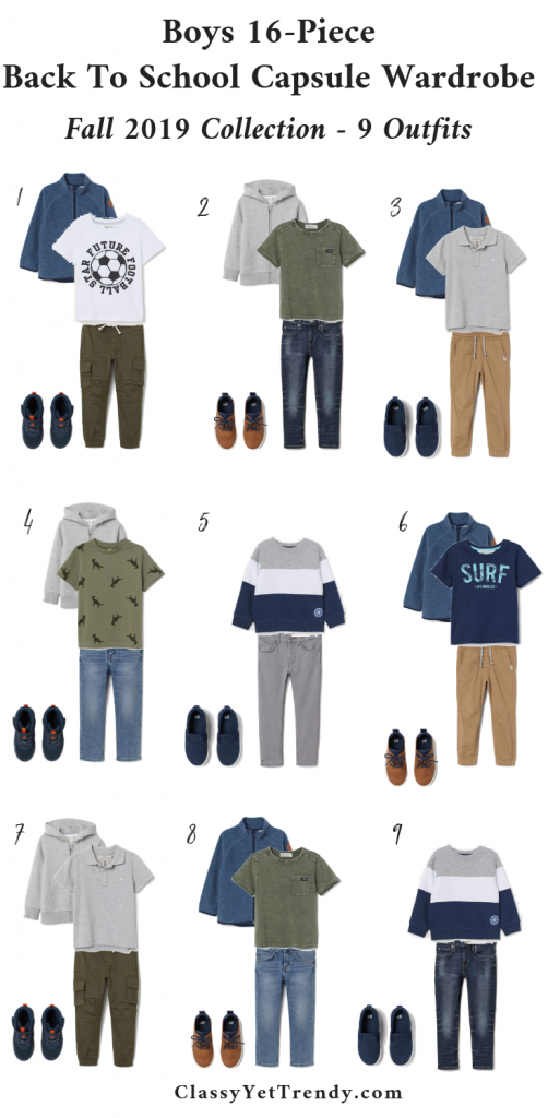 Boys Back To School Capsule Wardrobe Fall 2019-9 Outfits-Sizes 1-10Y