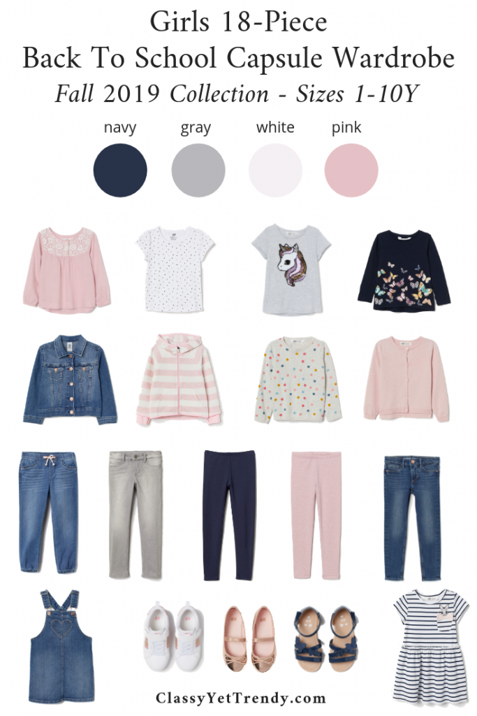 Girls 18-Piece Back To School Capsule Wardrobe - Fall 2019 - Sizes 1-10Y