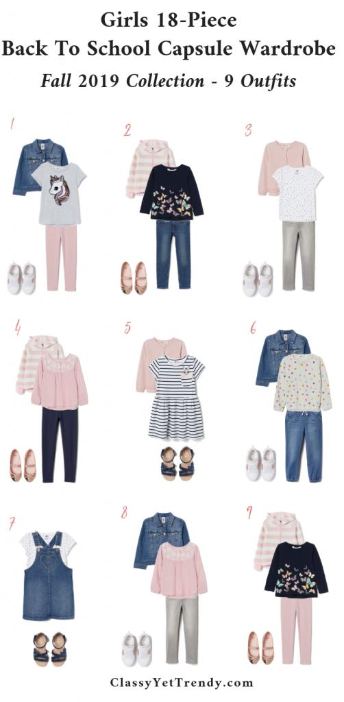 Girls Back To School Capsule Wardrobe Fall 2019-9 Outfits-Sizes 1-10Y