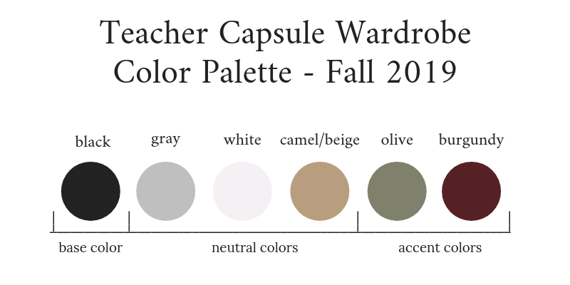 Teacher Capsule Wardrobe Fall 2019 Color Palette