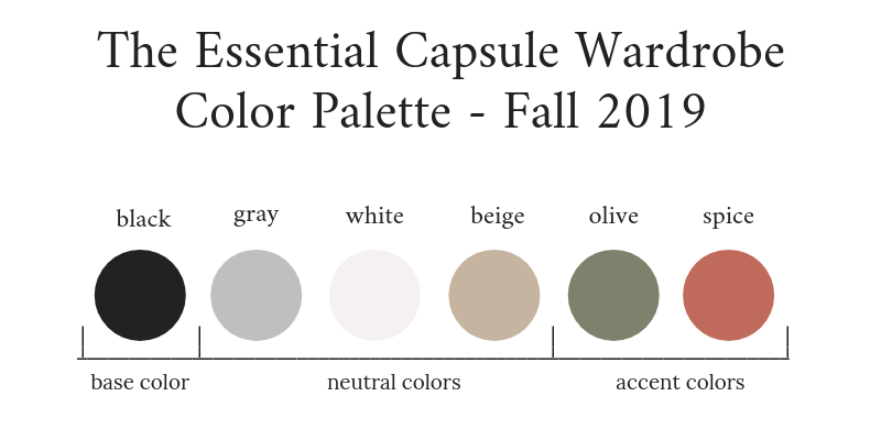 Essential Capsule Wardrobe Fall 2019 Color Palette
