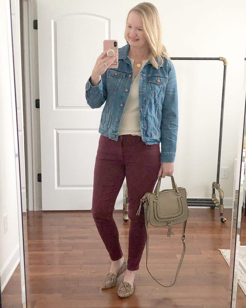 Instagram-Outfits-October-2019-thermal-top-denim-jacket-burgundy-jeans-snake-flats